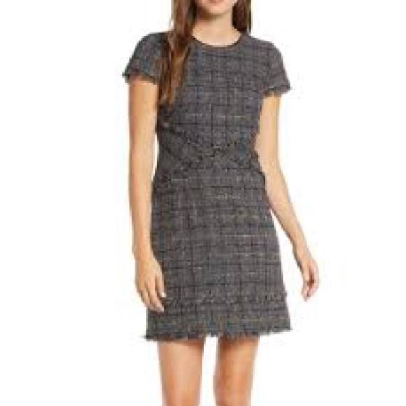 Eliza J Tweed Fringe Woven Dress